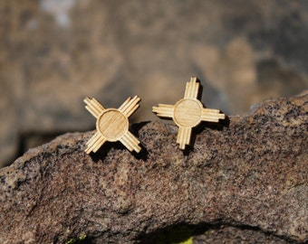 Small Zia Symbol stud earrings - New Mexico Style