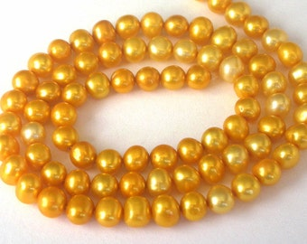 Golden yellow freshwater pearls, 5mm to 6mm yellow pearls, 16 inches