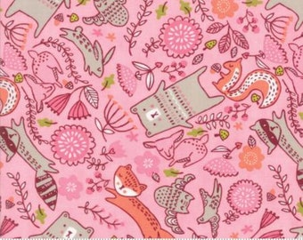Just Another Walk In The Woods by Stacy Iest Hsu for Moda - Children's Forest Furries - Pink - FQ - Fat Quarter Cotton Quilt Fabric  1216