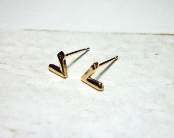 V Shaped Stud Earrings, Rose Gold V Earrings
