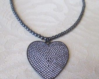 Hematite Beaded Necklace with Heart Pendant