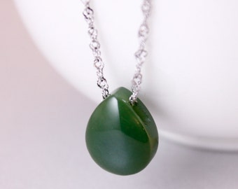 Emerald Green Nephrite Jade Necklace - Teardrop - 925 Sterling Silver