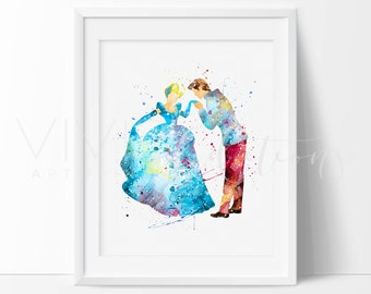 Cinderella and Prince Charming Print, Disney Princess Nursery Art Print Wall Decor, Watercolor Painting, Wall Art, Buy 2 Get 1 Free, No. 191