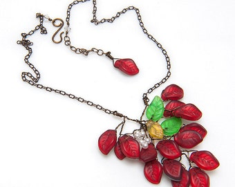 Red Branch Necklace, Red Green Leaf Necklace, Red Beaded Necklace, Twisted Wire Necklace, Woodland Jewelry, Gift for Her