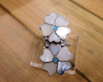 Beautiful Vintage Two Flower Inlay Ring Size 7.25