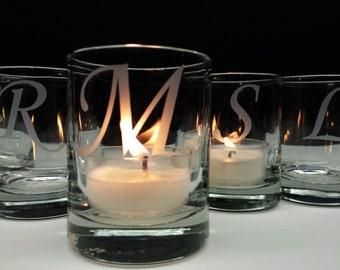 24 Monogram Candle Holders Engraved Glass Votive Holders Wedding Decor Custom Personalized Wedding Favors