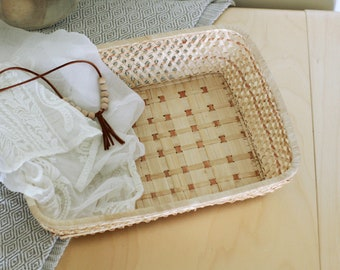 Vintage Boho Woven Rattan Basket Tray/Rectangular Wicker Storage/Wall baskets/DIY Wedding