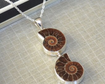 Ammonite Sterling Silver Double Pendant