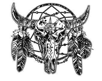 Dream Catcher & Skull Temporary Tattoo
