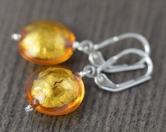 for her November birthstone earrings Citrine earrings made of Yellow Murano glass