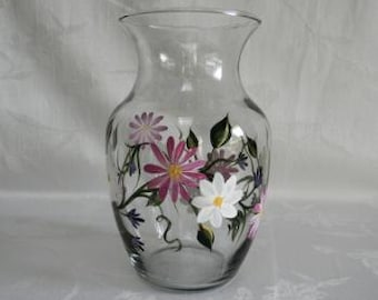 Vase, hand painted vase, Daisies, painted daisy vase, home decor