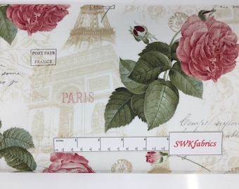 Eiffel Tower and Roses Fabric, Shabby Chic Vintage, Fabric by the yard, Fat Quarter, Quilting Fabric, Apparel Fabric, 100% Cotton , F-14