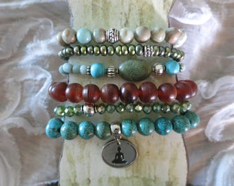Stacking Stretch Bracelets (6) with Turquoise, African Opal, Fresh Water Pearl, Crystal, Brass fits 6 to 7.5 inch wrist