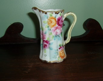 """4"""" Porcelain Pitcher Hand Painted Roses"""