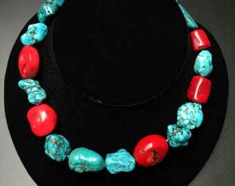 Turquoise and Coral Stone Necklace #2