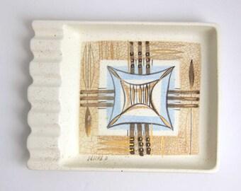 Vintage Sascha Brastoff Abstract Atomic Ashtray - Collectible Mid Century Sascha B. California Pottery Tobacciana