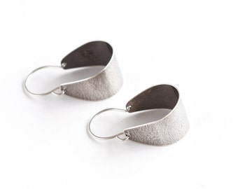 "Sleek silver earrings, modern and sexy pair in a unique small arc shape that dangles lightly when worn - ""Small Silver Scoop Earrings"""