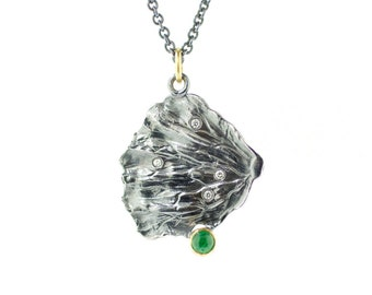 Fan Lichen Emerald and Diamond Pendant Sterling Silver 18k Gold Recycled Metal Nature Jewelry