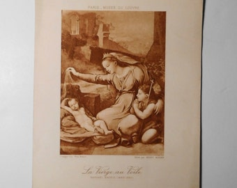 Free shipping-Ancient Art Print, Madonna with the Blue Diadem, Raphael, Louvre Museum