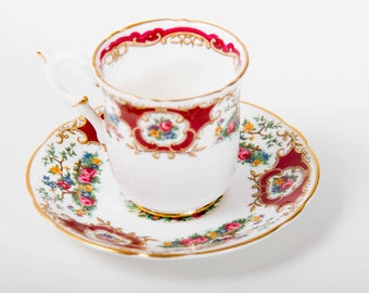 Vintage Coalport Broadway Marone red china demitasse cup and saucer