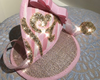 Childrens / girls pink glitter fascinator
