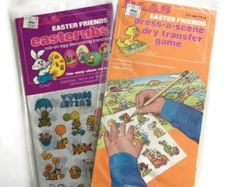 Set of 2 Vintage PAAS Easter Friends Kits, 1 Easterubs Rub on Egg Decorating Transfer and 1 Press a Scene Dry Transfer Game, Vintage Easter