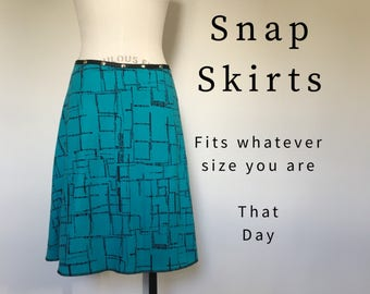 Skirt Winter Petal, snap skirt, blue adjustable midi knit cotton wrap skirt, Erin MacLeod, FREE SHIPPING
