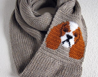 Cavalier Spaniel scarf. Knit infinity scarf with Cavalier King Charles dogs. Knitted dog scarf. Blenheim gift