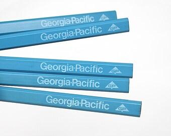 Vintage Carpenter Pencils - Georgia Pacific - Vintage Pencils - Industrial Advertising - Industrial Decor -Pencil Collection -Vintage Office