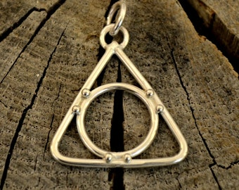 Sterling Silver Recovery pendant necklace. handforged triangle pendant.