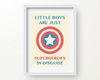Little Boys Are Just Superheroes In Disguise Print 1, Superhero Poster, Superhero Art, Spiderman, Batman, Superman, Instant Download