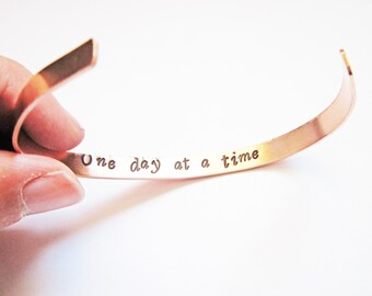 Hidden Message Bracelet, jewelry hand made, inspirational gift friend mother secret message, customizable, copper cuff, one day at a time