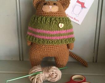 Handmade Crochet Cat with Jumper