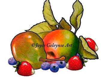 Clip Art, FRUIT, Apple, Pear, Strawberries, Blueberries, Freehand Drawing, Commercial Use, Colorful Food, Instant Download