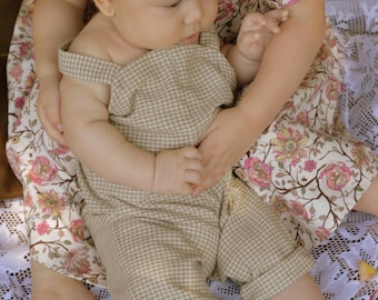 Green Plaid Cotton Infant and Toddler Romper Handmade by Papoose Clothing