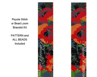 PP103 Poppies Peyote or Bead Loom Bracelet KIT P14 - Pattern and Delica Bead Colors Included- Bracelet Beadweaving Kit