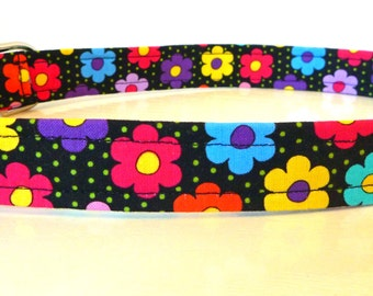 """Pink Blue Orange Purple Floral - Daisy Dog Collar - Multi Colored Daisies & Dots - """"Avery"""" - Free Colored Buckles"""