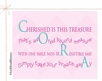 New Baby Gift Nursery Prints Newborn Baby Girl Gift Infant Gifts Name Wall Art Personalized Newborn Gift Unique Baby Gift Poem 8x10 Cora