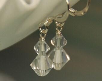 Tiny Crystal Earrings, Clear Crystal Earrings, Swarovski Clear Crystals in Sterling Silver, Bridal Earrings, Dangle Wedding Earrings,