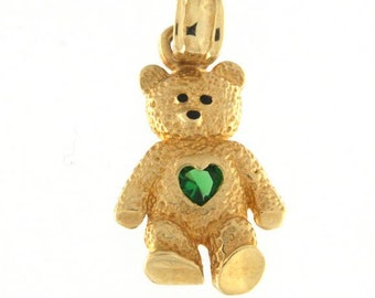 14k Yellow Gold Teddy Bear with Green Birthstone
