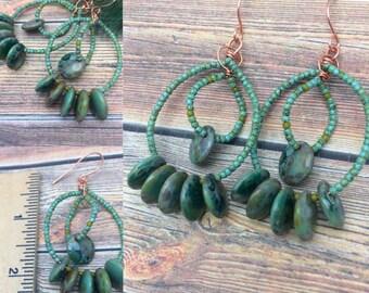 Lake Tahoe Czech Glass Earrings Copper, Hoops, Free Shipping, Ready to Ship, Boho Hippy