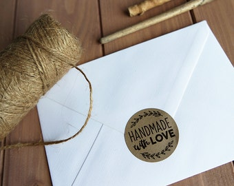 24 Handmade With Love Stickers Labels Rustic Envelope Seals 40mm / Kraft Stickers / 213