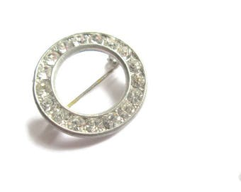 Circle Rhinestone Brooch 1950s Vintage Bridal Jewelry
