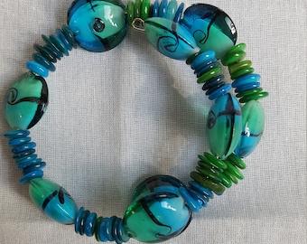 Art Glass Memory Wire Bracelet