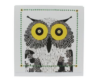 """Owl greeting card, wise owl card, owl note card, owl art card, owl greeting card, owl blank card, owl 5.25"""" square card"""