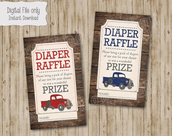 Truck Baby Shower Diaper Raffle Ticket, Truck Baby Shower, Truck Diaper Raffle, Baby Shower Diaper Raffle, instant download