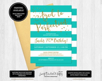 Teal Birthday Invitation Blue Stripe and Gold Glitter Party Invites Printable Digital File or Printed Invitations Aged to Perfection