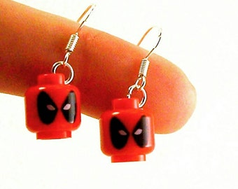 Deadpool® Inspired Earrings *LAST PAIR* Sterling Silver Stamped Ear Hooks - Fan Art Crafted From LEGO® Elements