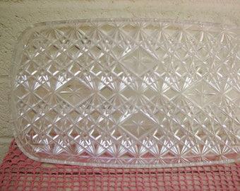 Mid Century DIAMOND STARBURST Lucite TRAY-Vintage Clear Rectangular Vanity Tray