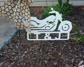 Monogram Harley Inspired Motorcycle Door Hanger ~or~ Garden Flag / Personalized Door Wreath / Monogram Door Hanger Wreath
